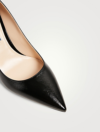 PRADA Saffiano Textured Patent Leather Pumps Women's Black