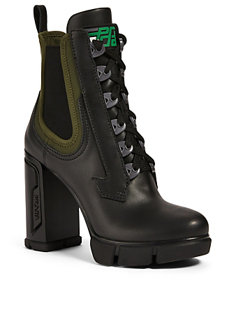 PRADA Leather Platform Hiker Boots Women's Black