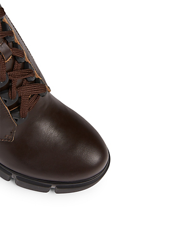 PRADA Leather Platform Hiker Boots Women's Brown