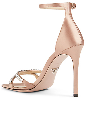 PRADA Satin Heeled Sandals With Crystals Women's Neutral