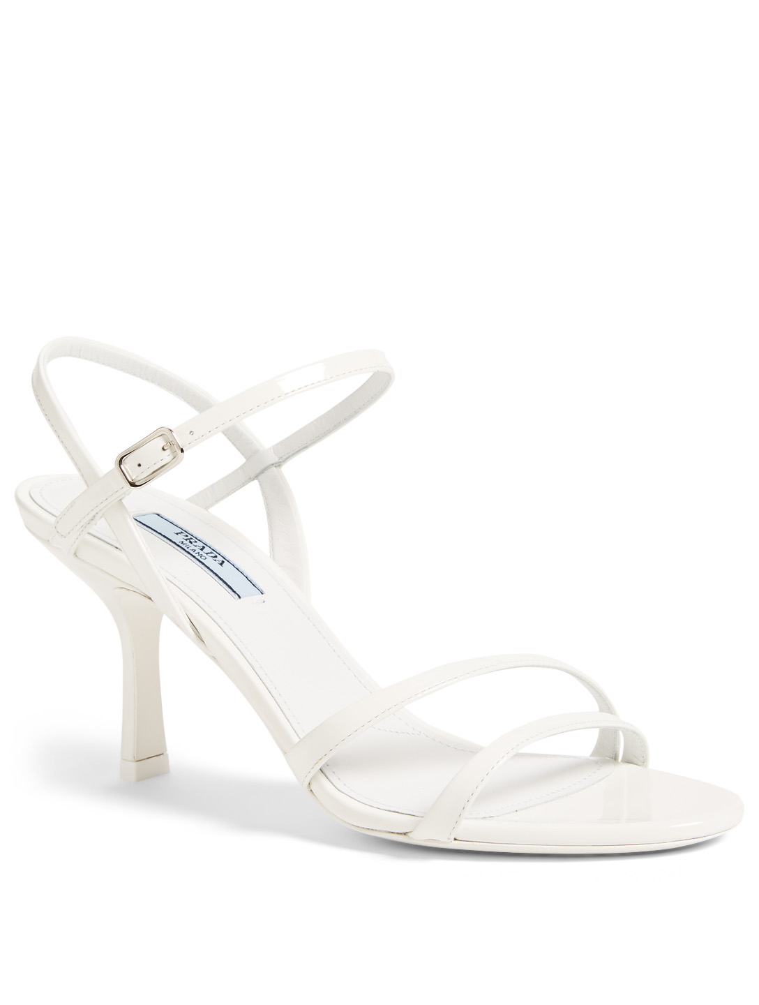 PRADA Bare Patent Leather Heeled Sandals Women's White