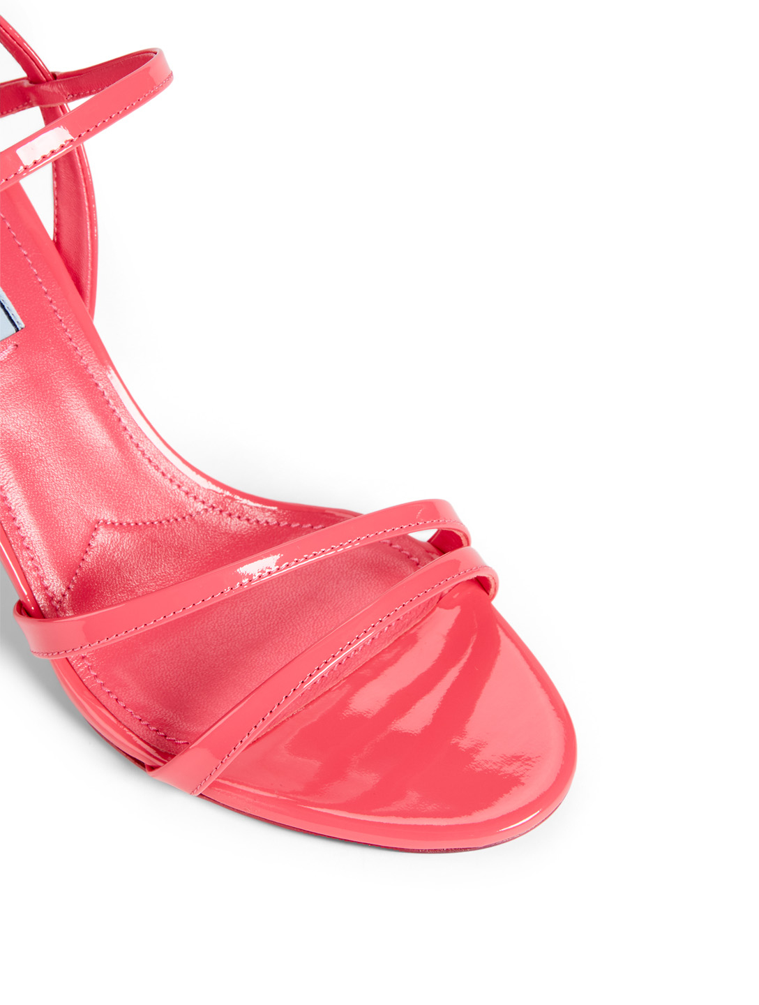 PRADA Bare Patent Leather Heeled Sandals Women's Pink