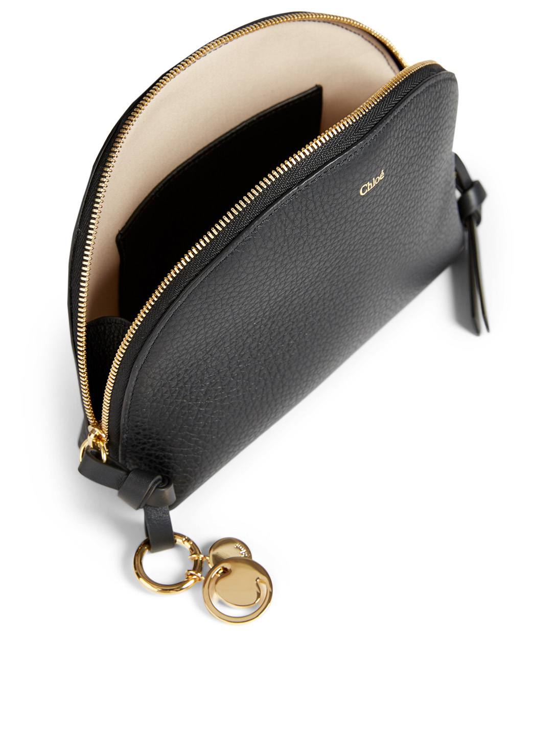 CHLOÉ Alphabet Leather Cosmetic Pouch Women's Black