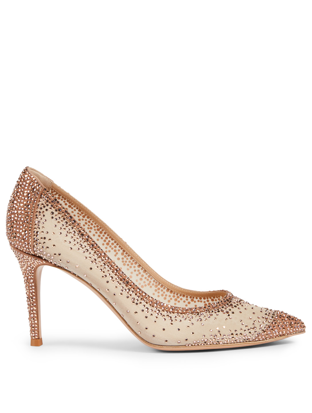 GIANVITO ROSSI Rania 85 Suede And Organza Pumps With Crystals Women's Metallic