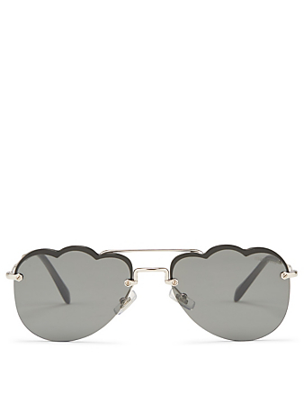 MIU MIU Head in the Clouds Aviator Sunglasses Women's Black