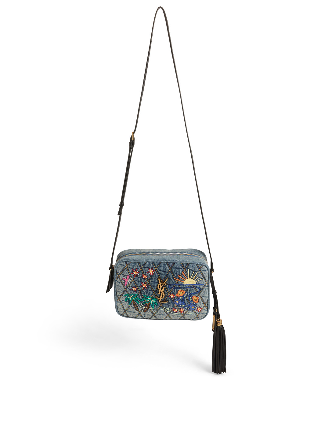 SAINT LAURENT Lou Monogram Denim Crossbody Camera Bag With Embroidery Women's Blue