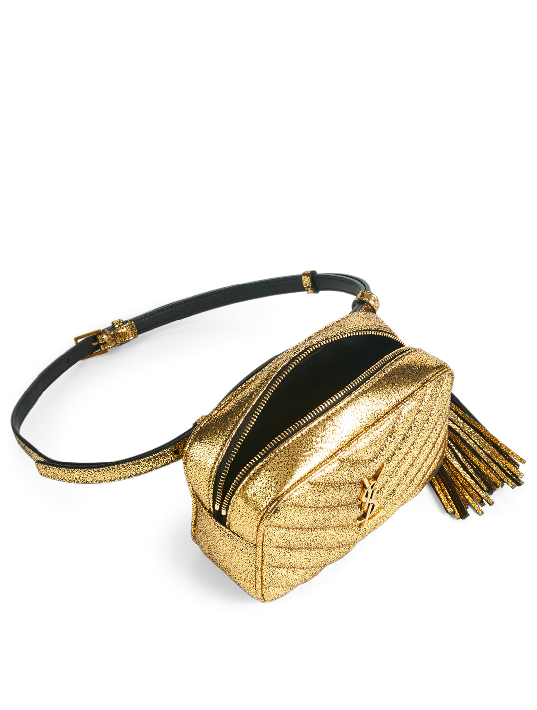090b473b43b ... Women's Gold; SAINT LAURENT Lou YSL Monogram Metallic Leather Belt Bag  Women's ...