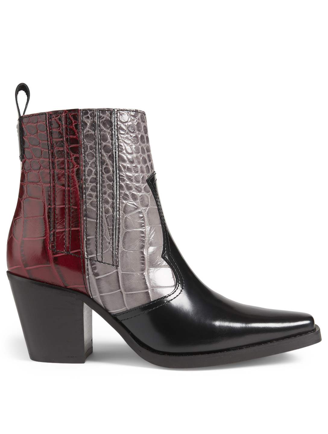 8b2840b7b3b GANNI Western Croc-Embossed Leather Ankle Boots Women's Black ...