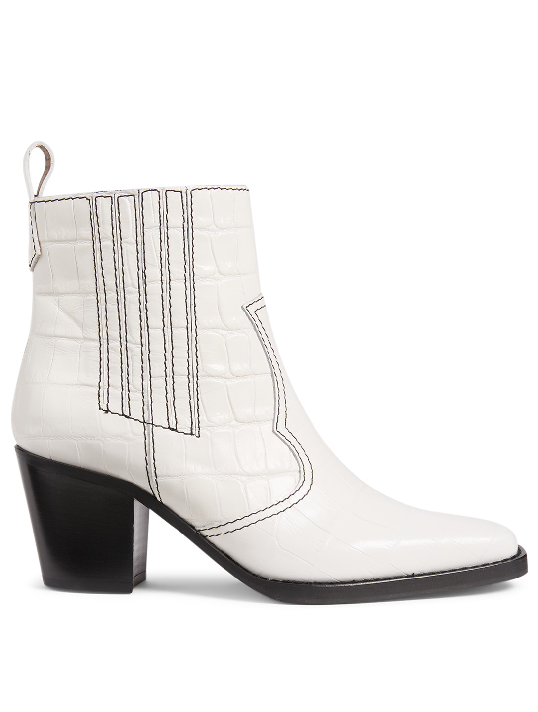 7662e39cef6 GANNI Western Croc-Embossed Leather Ankle Boots Women's White ...