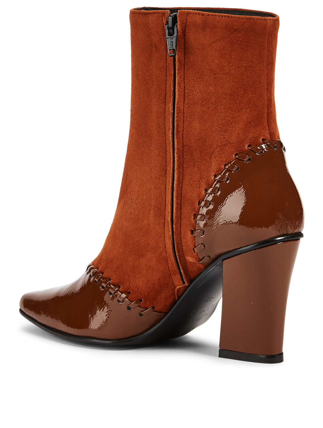 REIKE NEN Turnover Slim Suede And Patent Leather Ankle Boots Femmes Marron