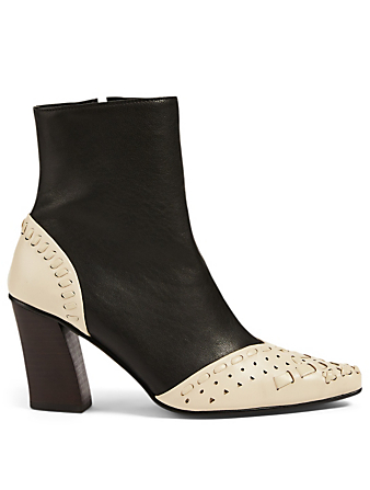REIKE NEN String Embroidery Slim Leather Ankle Boots Femmes Noir