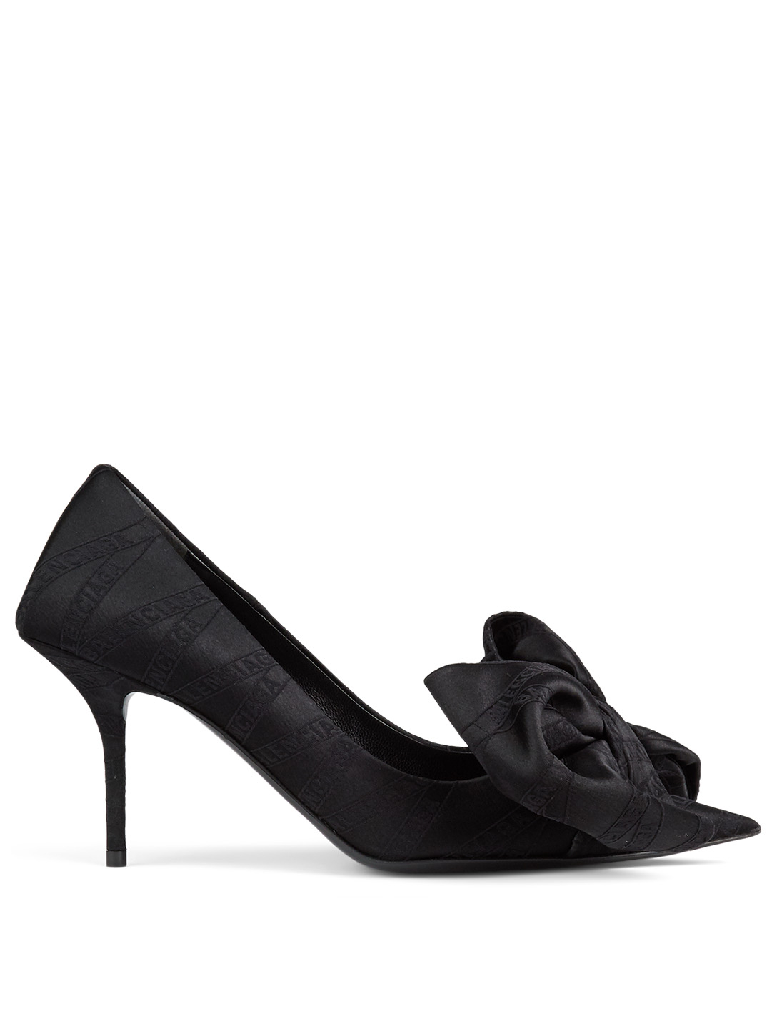 BALENCIAGA Square Knife Bow Satin Pumps In Logo Print Women's Black