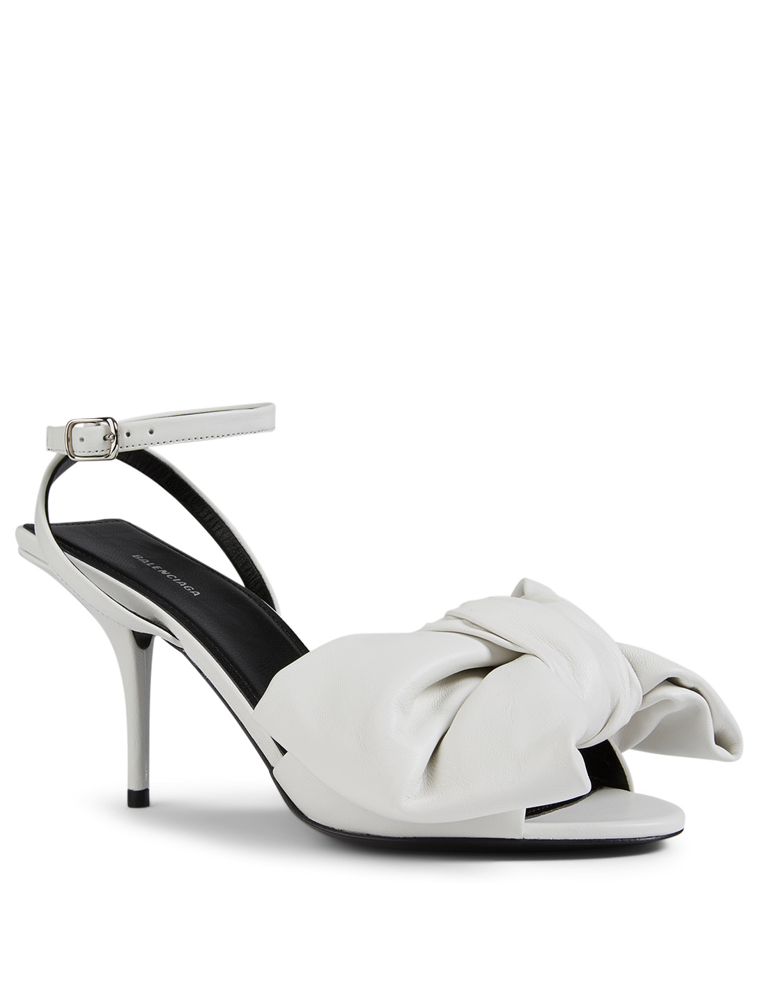 BALENCIAGA Square Knife Bow Leather Heeled Sandals Women's White