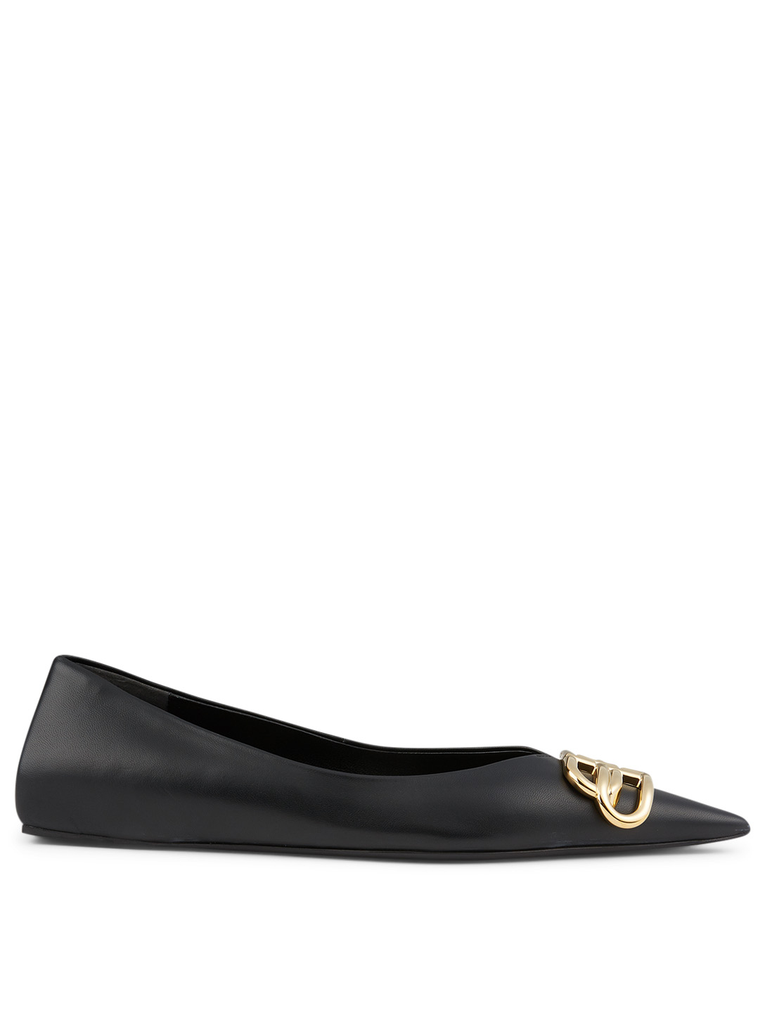 BALENCIAGA Square Knife BB Leather Ballet Flats Women's Black