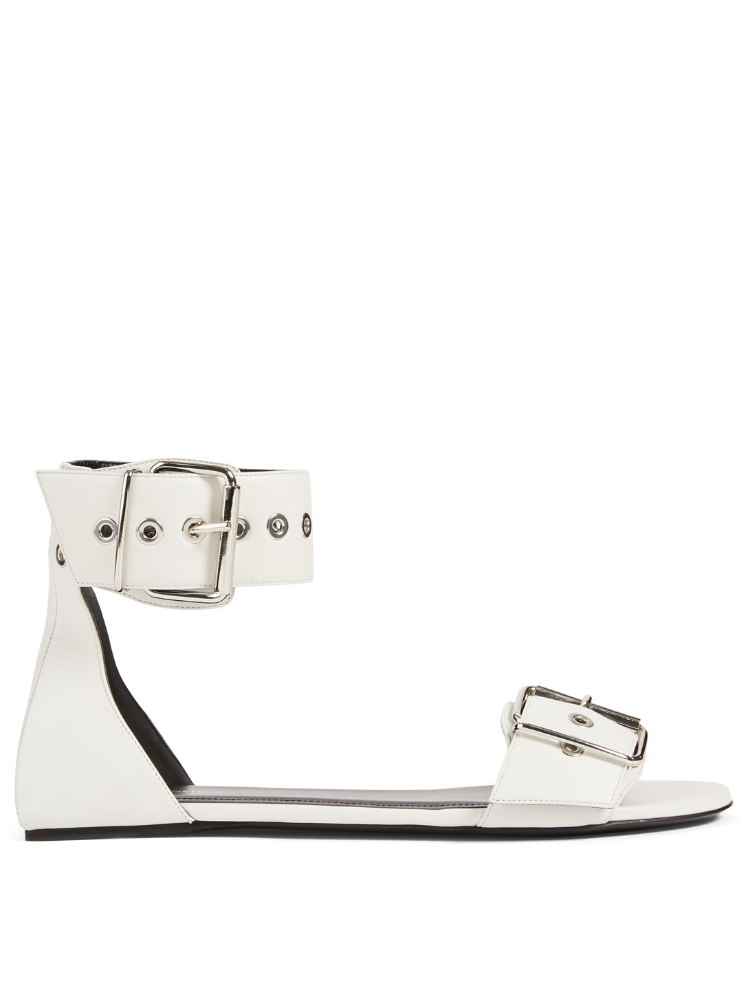 BALENCIAGA Belt Leather Sandals Women's White