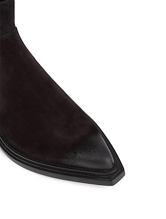 BALENCIAGA Santiag Suede Western Ankle Boots Women's Black