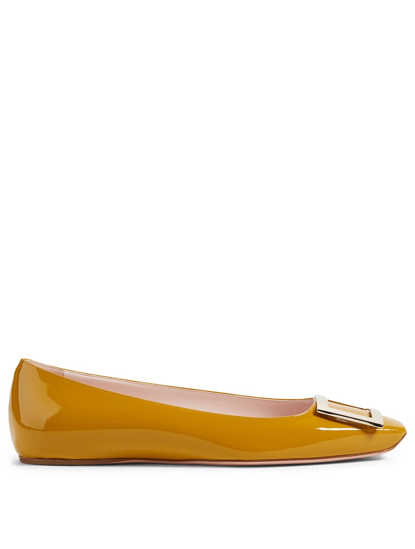 3405ec2e1f7b4 ROGER VIVIER Trompette Patent Leather Ballet Flats Women's Yellow ...