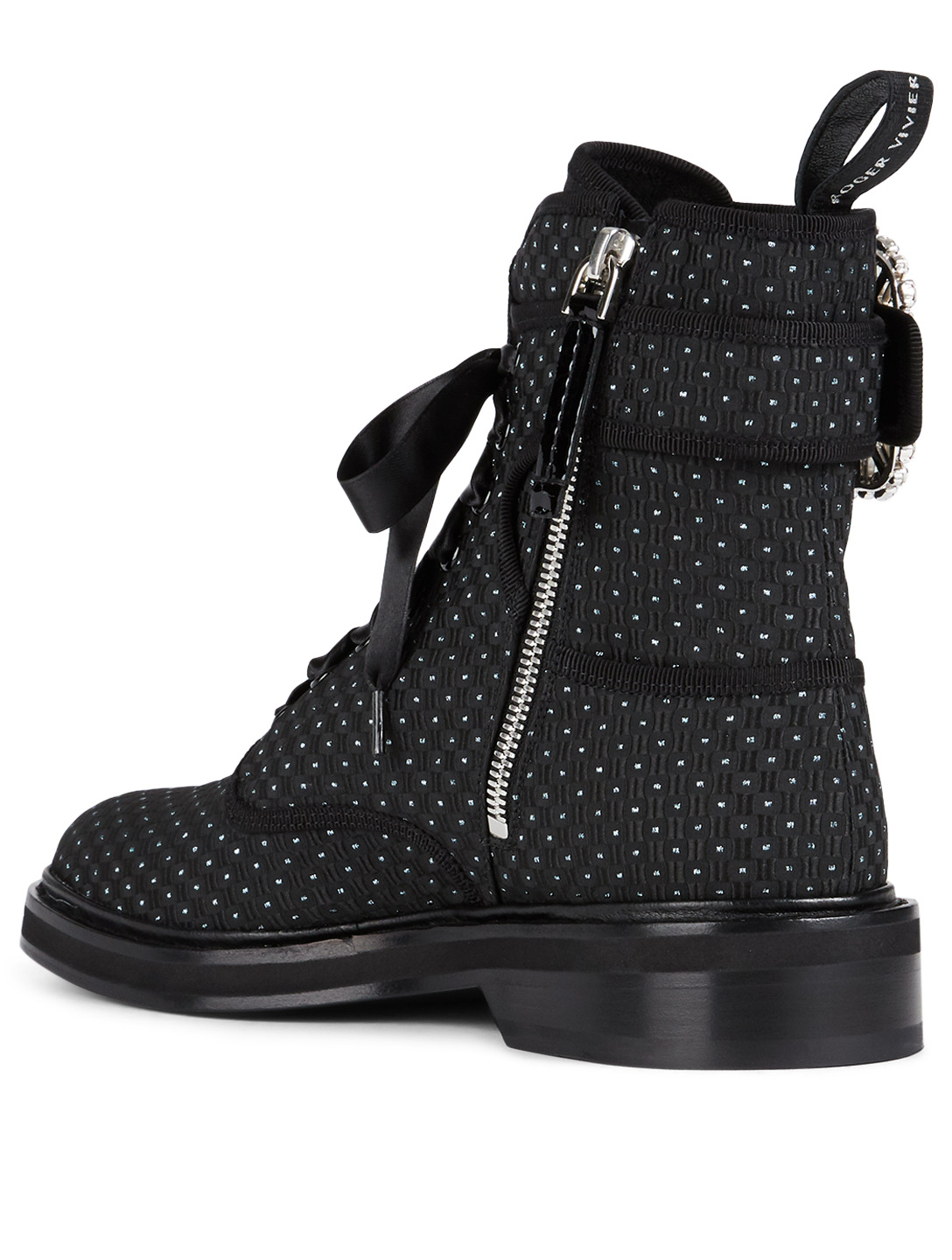 141f116490e ROGER VIVIER Viv' Rangers Fabric Ankle Boots With Strass Buckle ...