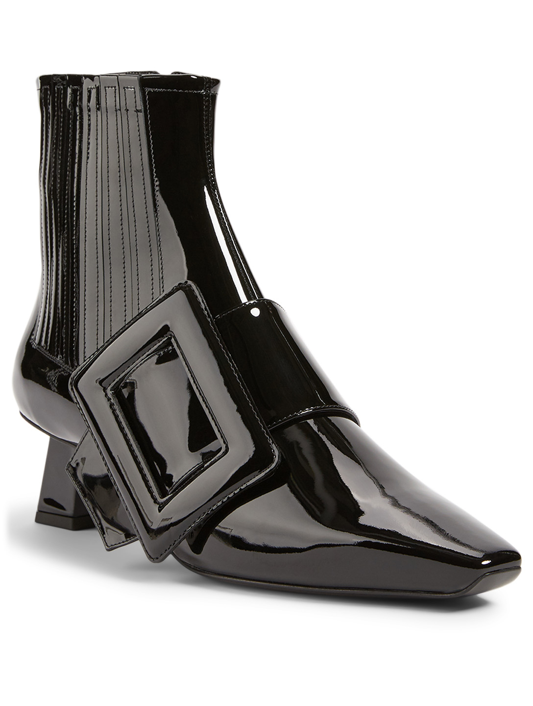 ROGER VIVIER Trapeze Extra Vivier Patent Leather Heeled Ankle Boots Women's Black