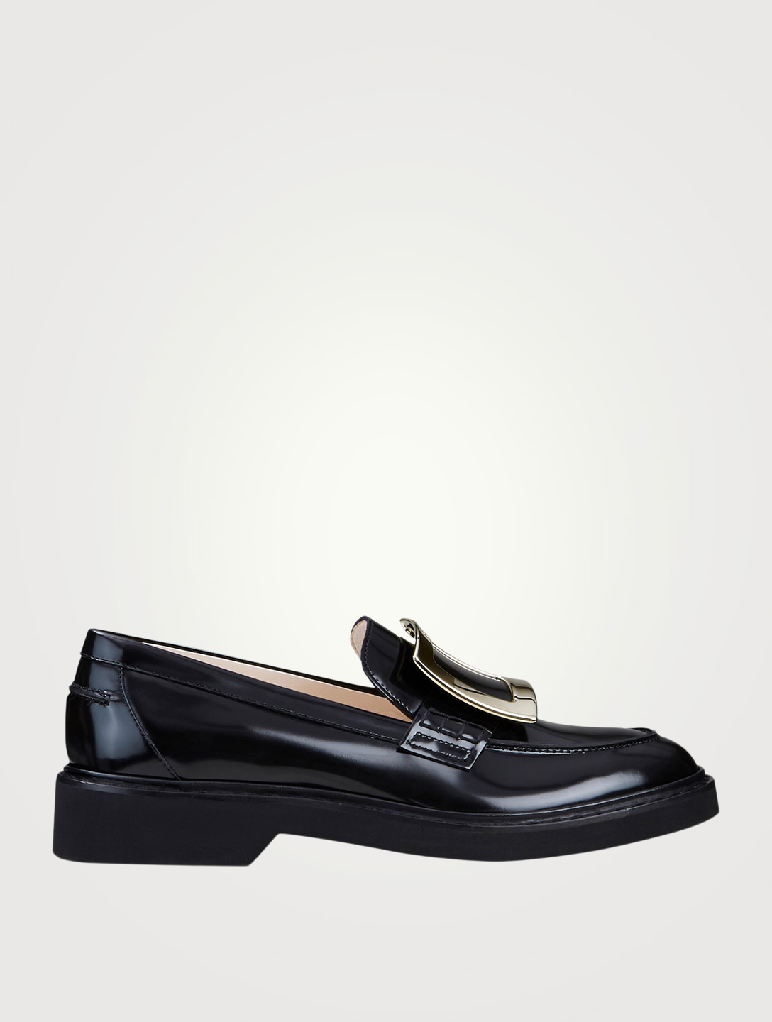 ROGER VIVIER Viv' Rangers Leather Loafers Women's Black