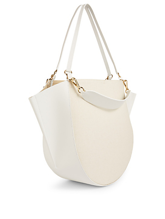 WANDLER Mia Linen And Leather Tote Bag Women's White