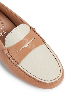 TOD'S Gommino Bi-Colour Leather Driving Shoes Women's Pink