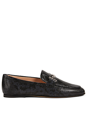 TOD'S Double T Leather Loafers In Python Print Women's Blue