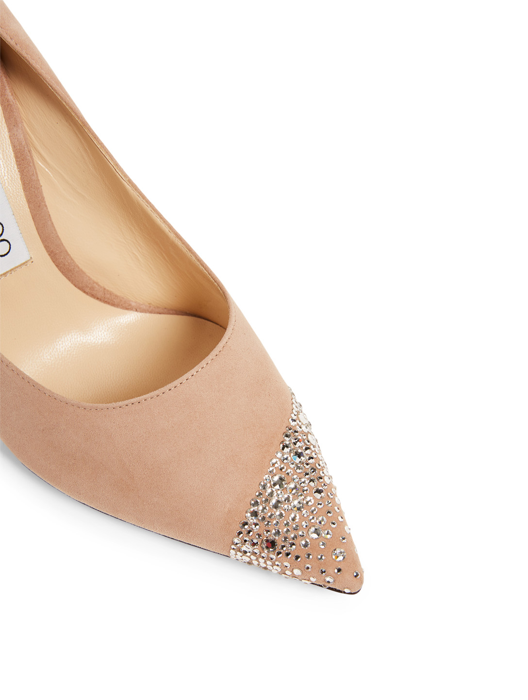 JIMMY CHOO Love 100 Suede Pumps With Asymmetric Sprinkled Crystals Women's Neutral