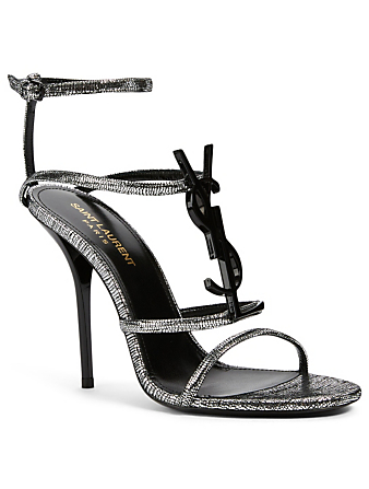 SAINT LAURENT Cassandra Metallic Leather Heeled Sandals With YSL Logo Women's Silver
