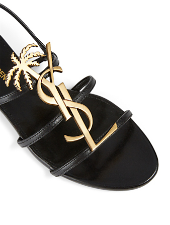 SAINT LAURENT Cassandra Leather Sandals With YSL Palm Logo Women's Black