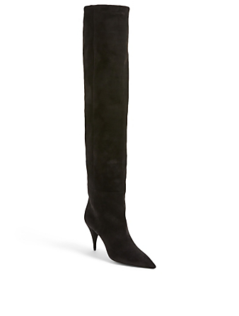SAINT LAURENT Kiki Suede Over-The-Knee Boots Women's Black