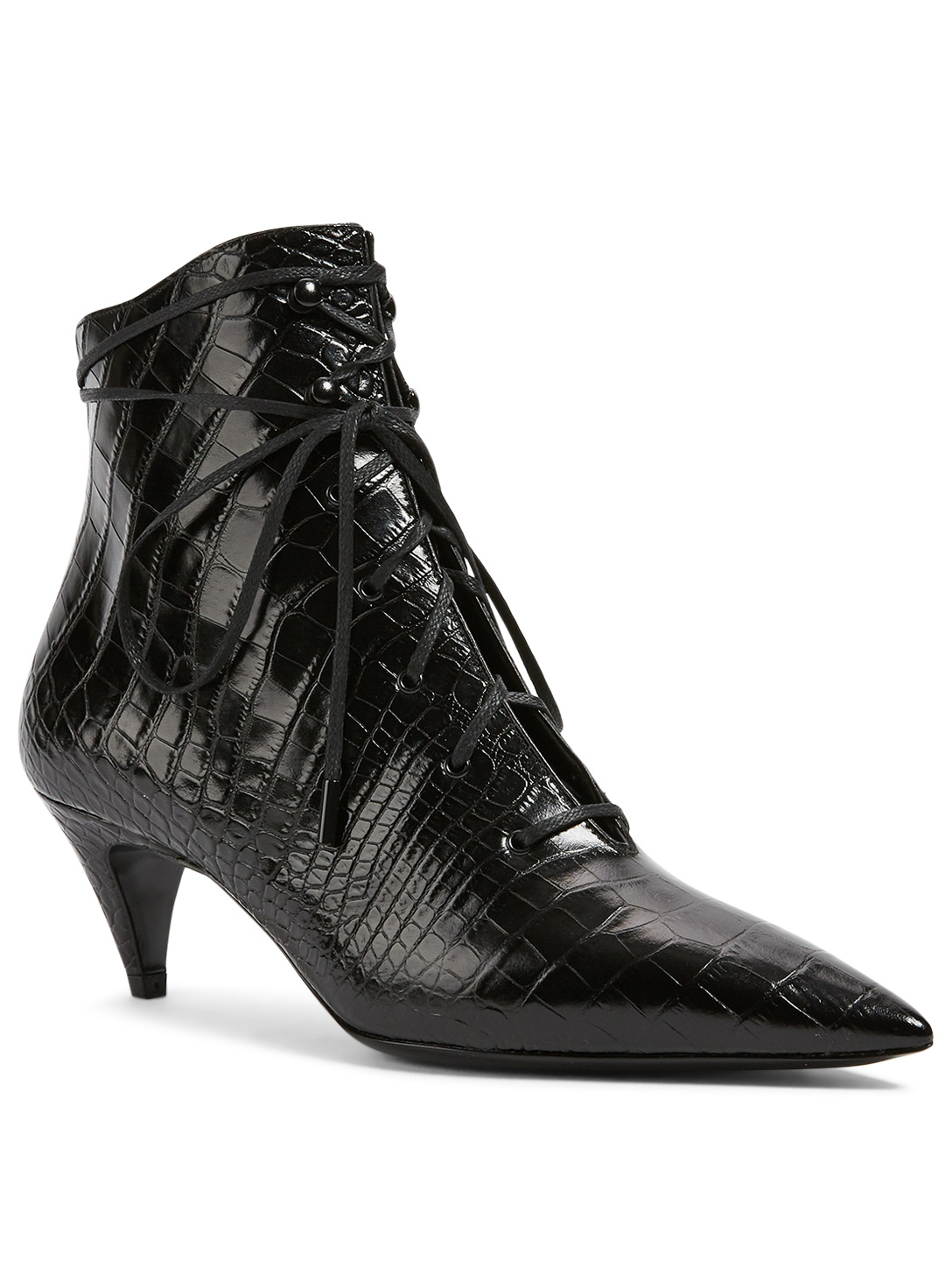 SAINT LAURENT Kiki Croc-Embossed Leather Ankle Boots Women's Black