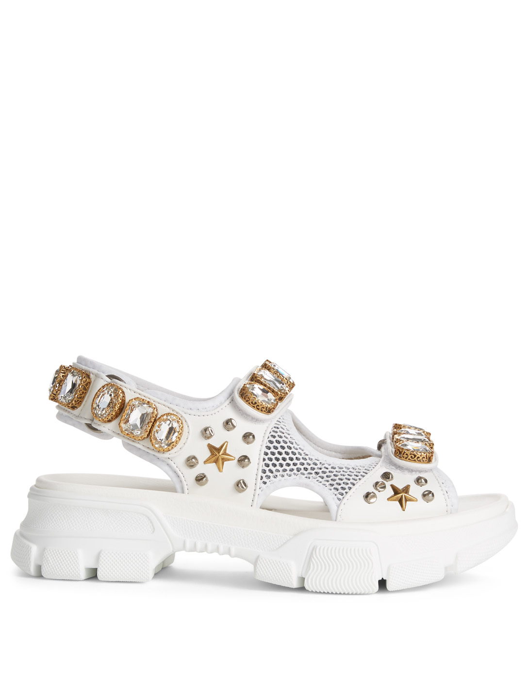 d859e4ee4b5 GUCCI Leather And Mesh Sandals With Crystals Women s White ...