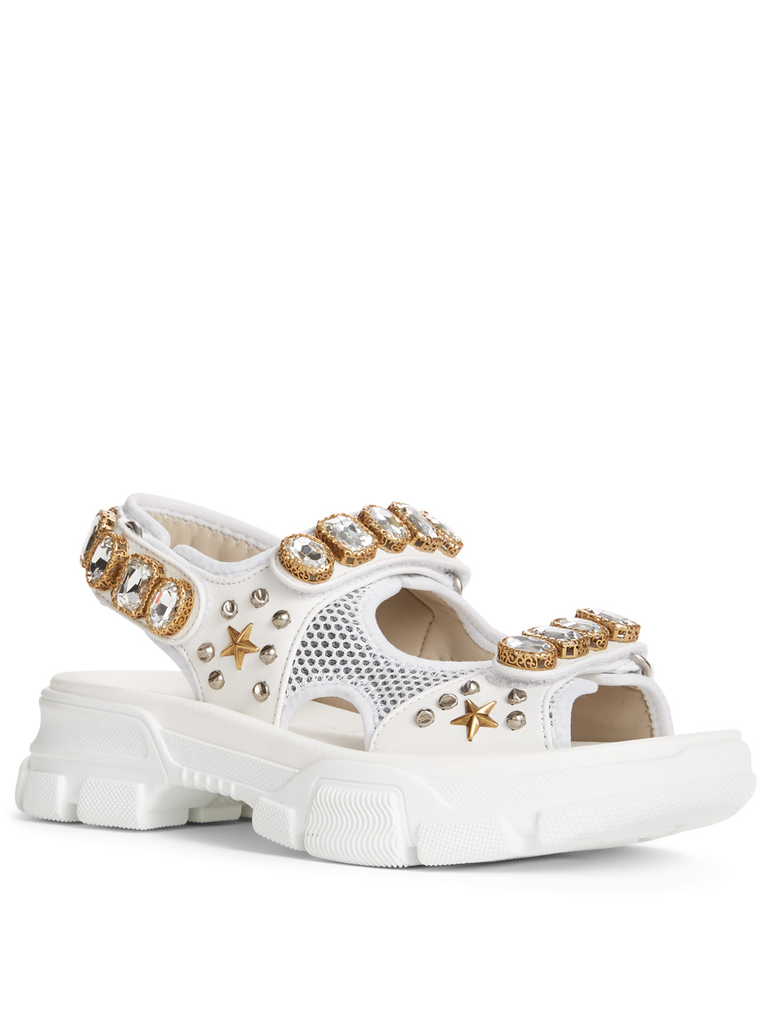 f1020ea68dd ... GUCCI Leather And Mesh Sandals With Crystals Womens White ...