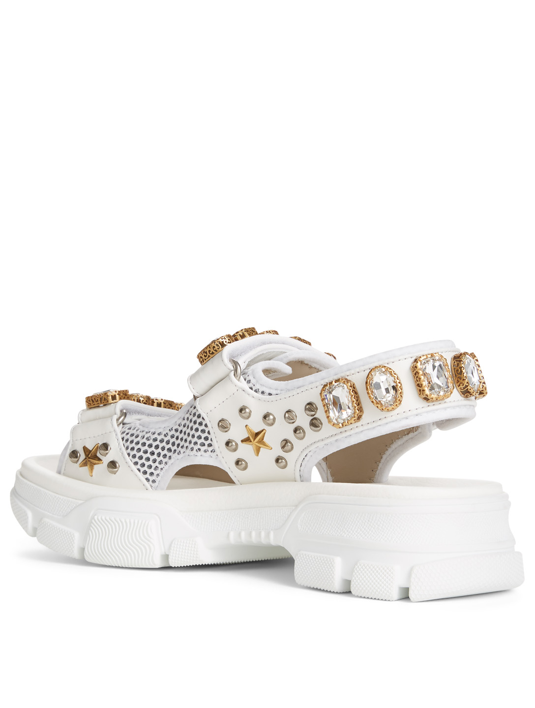 bcd19932431 ... GUCCI Leather And Mesh Sandals With Crystals Women s White ...
