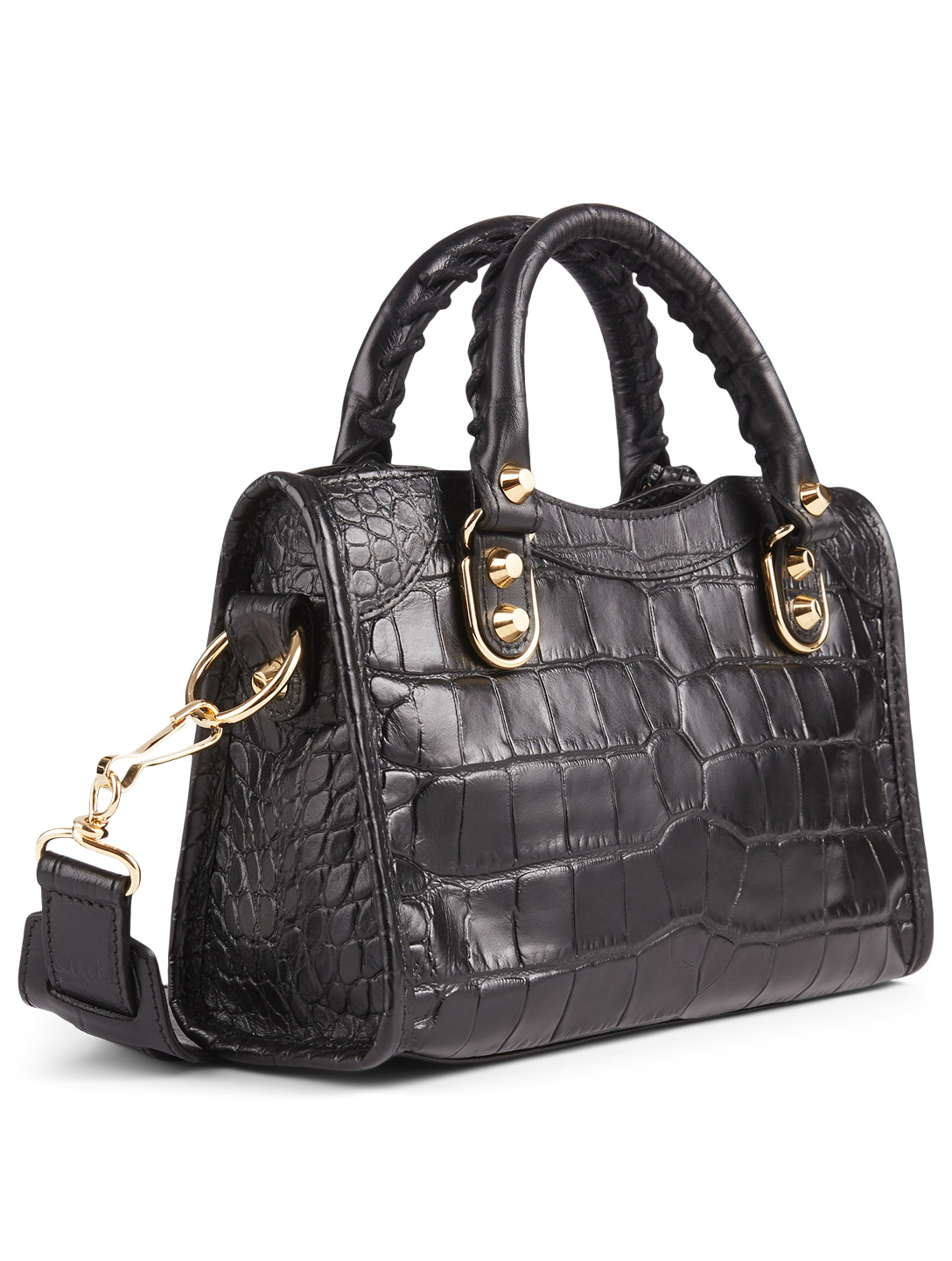 BALENCIAGA Mini Classic City Metallic Edge Croc-Embossed Leather Bag Women's Black