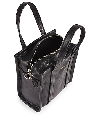 BALENCIAGA XXS Bazar Leather Logo Shopper Bag Women's Black