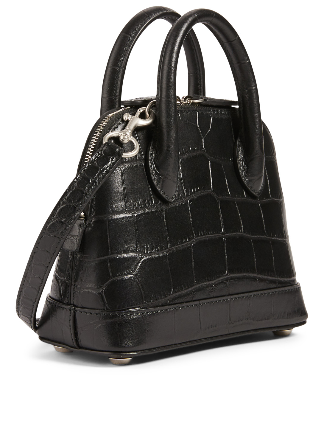 BALENCIAGA XXS Ville Croc-Embossed Leather Top Handle Bag With Logo Women's Multi