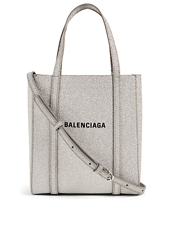BALENCIAGA XXS Everyday Glitter Leather Tote Bag Women's Silver