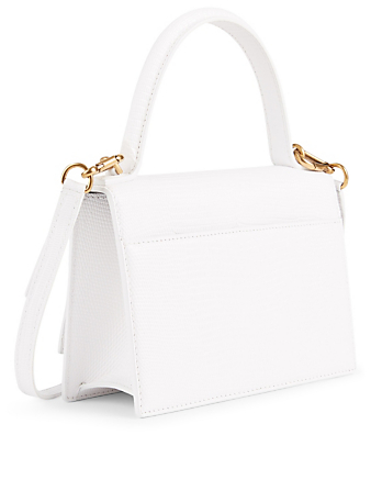 BALENCIAGA Extra Small Sharp Lizard-Embossed Leather Bag Women's White