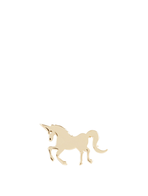fba3605ab SYDNEY EVAN Tiny 14K Yellow Gold Pure Unicorn Left Stud Earring Women's Gold  ...
