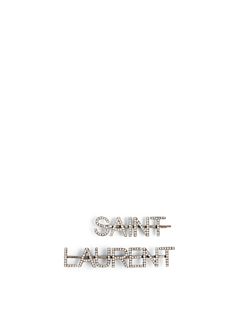 SAINT LAURENT SAINT LAURENT Hair Clips With Crystals Women's Metallic