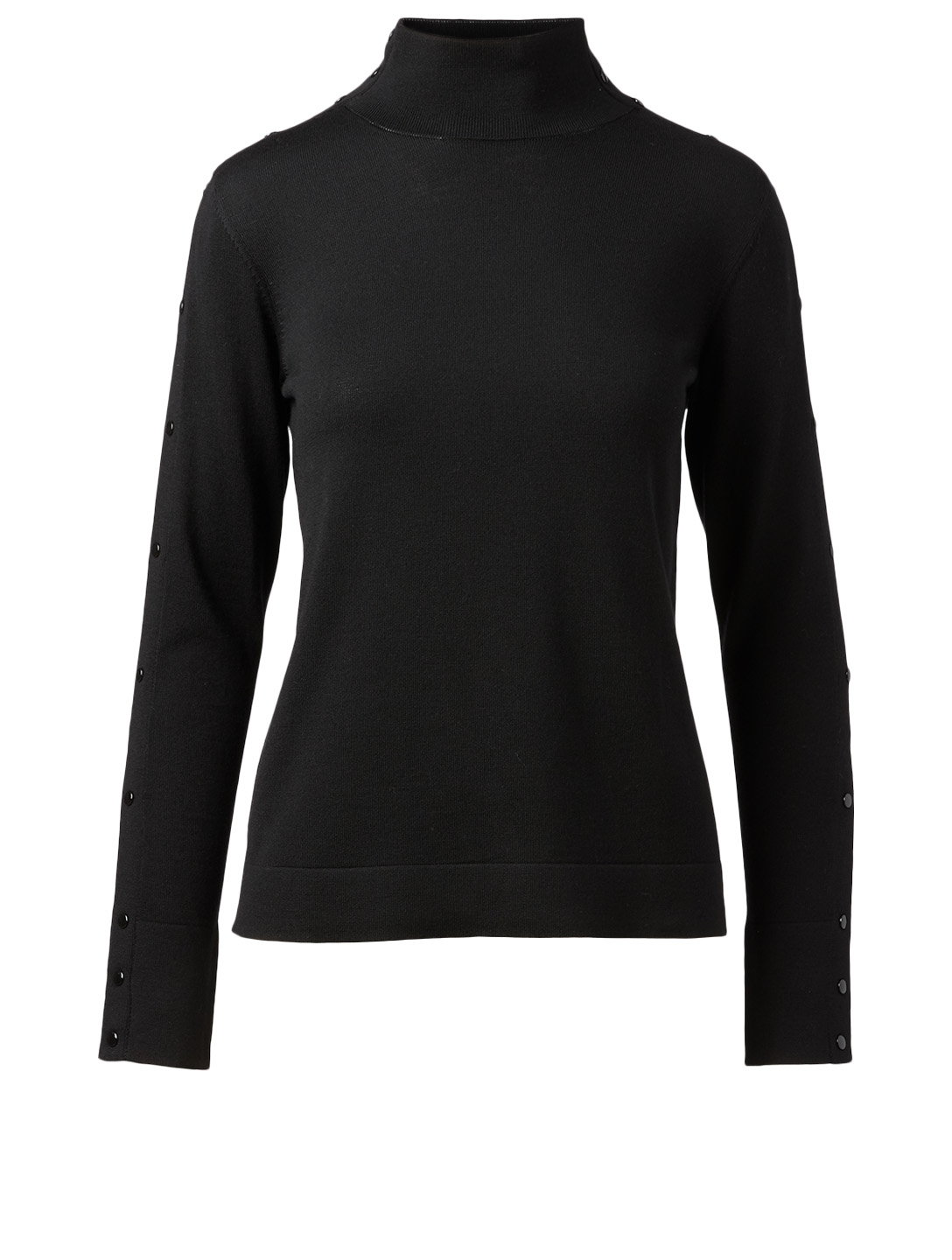 AKRIS PUNTO Wool Snap Button Sweater Women's Black