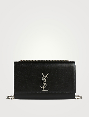 SAINT LAURENT Medium Kate YSL Monogram Leather Chain Bag Women's Black
