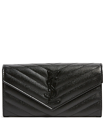 SAINT LAURENT Large YSL Monogram Leather Flap Wallet Women's Black