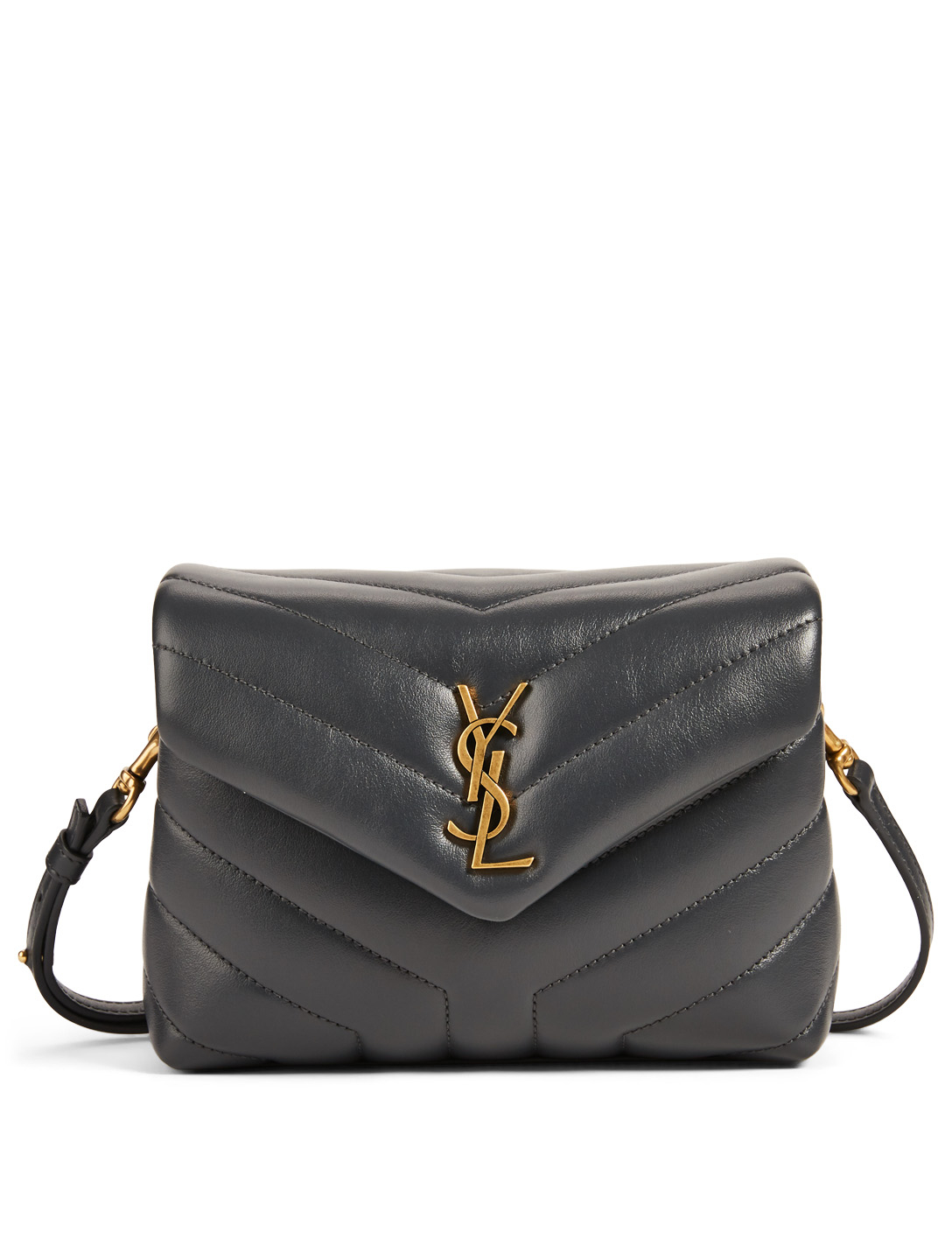 SAINT LAURENT Toy Loulou YSL Monogram Leather Crossbody Bag Women's Grey