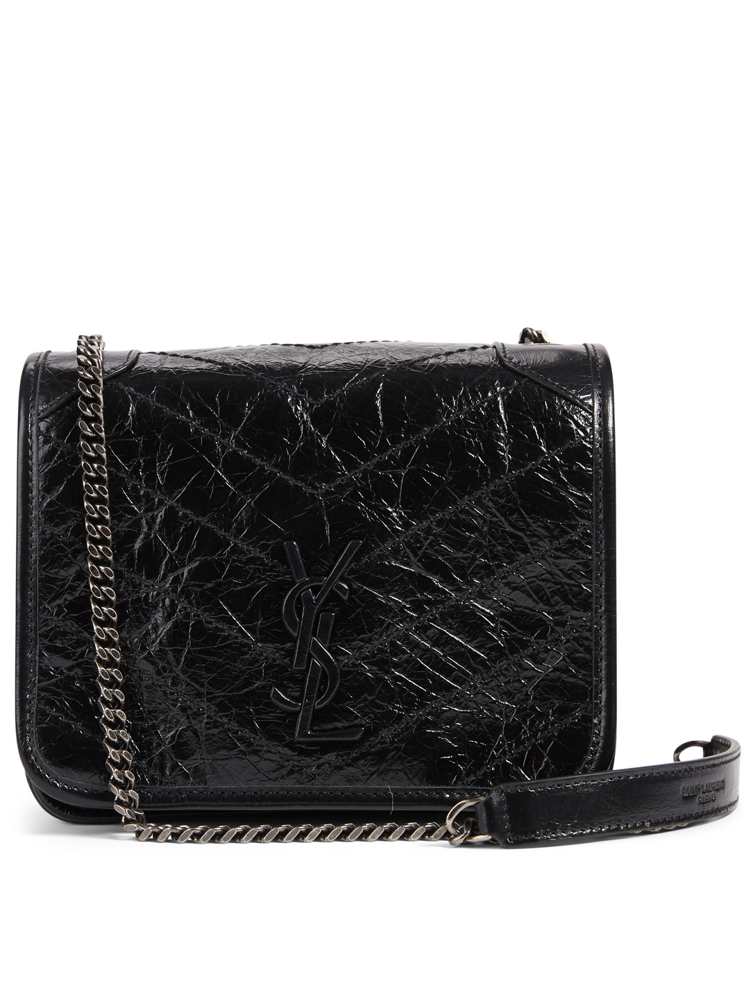 SAINT LAURENT Niki YSL Monogram Leather Chain Wallet Bag Women's Black