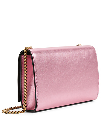SAINT LAURENT Kate YSL Monogram Metallic Leather Chain Bag Women's Pink