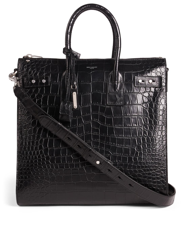 90fb4936d42f SAINT LAURENT Sac De Jour North-South Croc-Embossed Leather Tote Bag ...