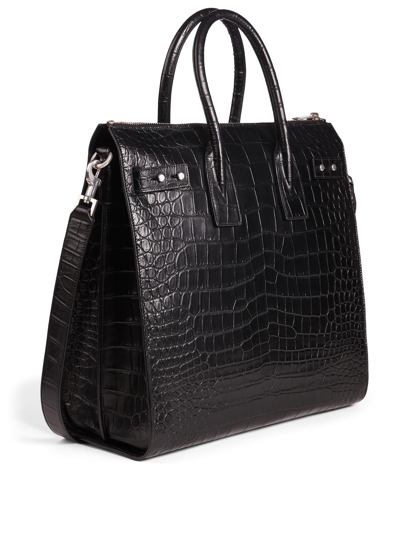 8da1bcfa8b23 ... SAINT LAURENT Sac De Jour North-South Croc-Embossed Leather Tote Bag  Men's Black ...